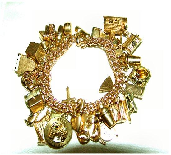 14K Vintage Charm Bracelet at 1750.00