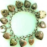 unusual braided vintage silver puffy heart bracelet
