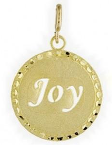 1960's disk 14K gold charm for bracelet JOY