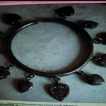 Interesting Bangle Bracelet with Vintage Puffy Hearts