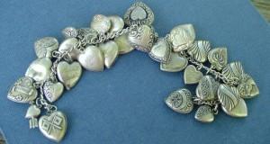 1940's vintage puffy heart sterling bracelet