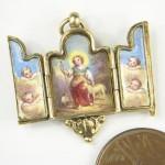 ANTIQUE FRENCH 18K GOLD ENAMEL CHRISTIAN TRIPTYCH LOCKET CHARM PENDANT c1800's