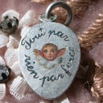 lovely enamel angel charm – victorian