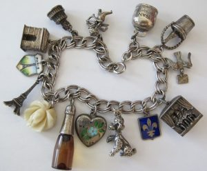 STERLING Silver PARIS LOVE ~ RARE Champagne ~ Can-Can Charm Bracelet