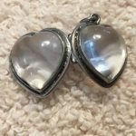Sterling Puffy Heart Charm with Rock Crystal and Opening Clasp